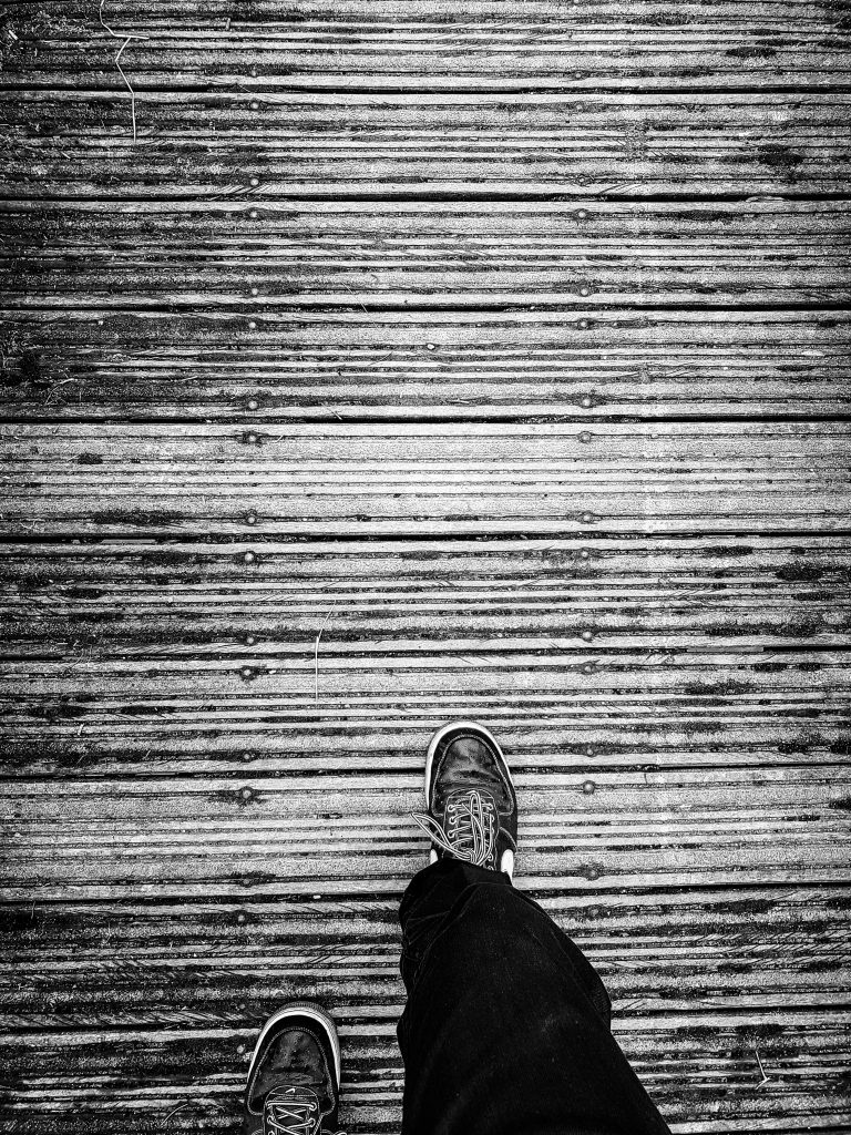 One Step in Front of the Other B+W image