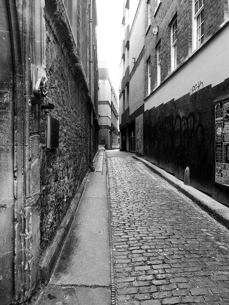 Cobbled Street B+W image