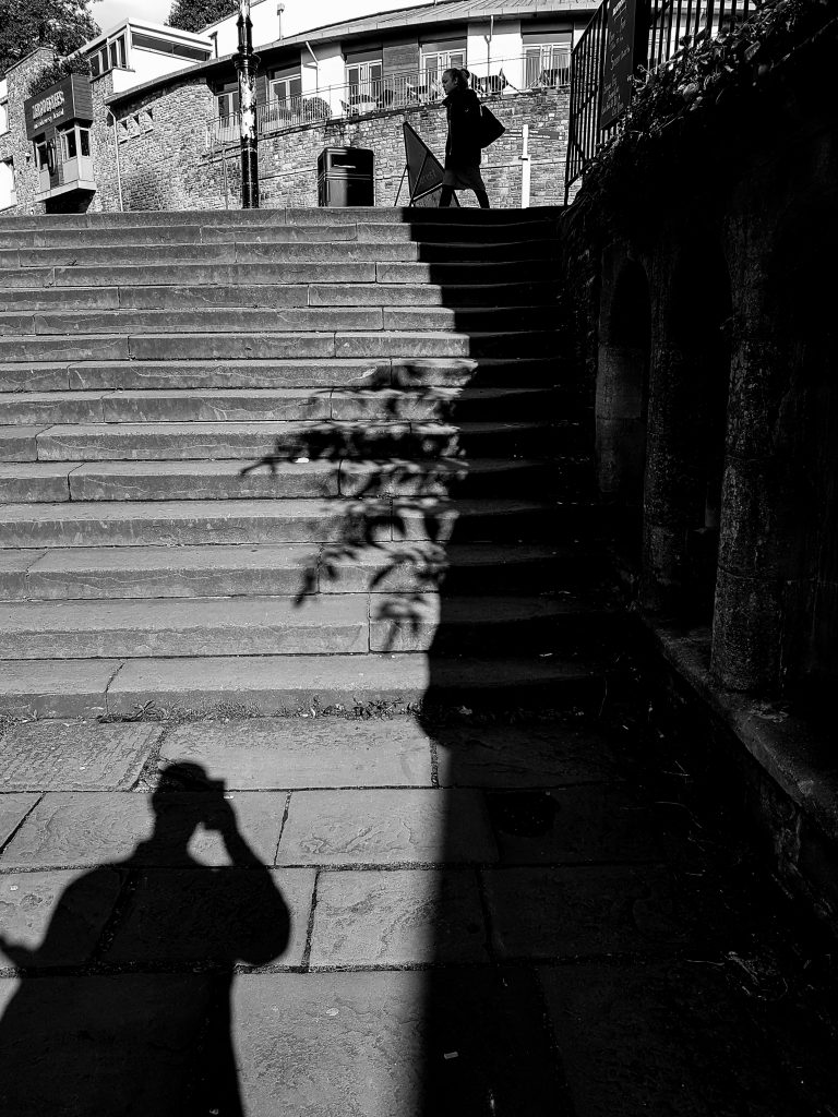 Early Morning Steps B+W image