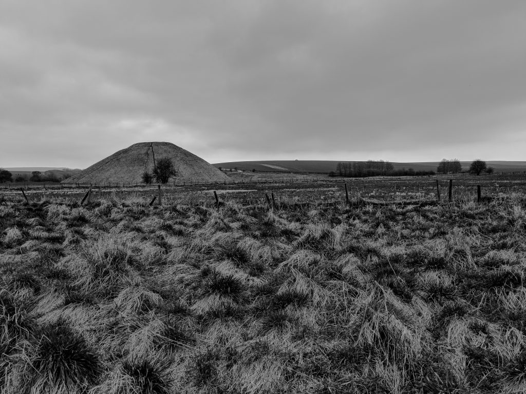 Avebury in April - Silbury Hill BW image