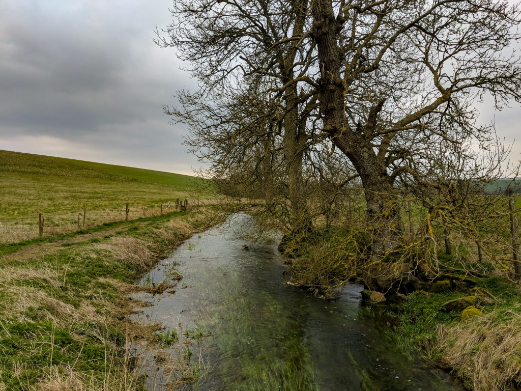Avebury in April - Stream at Silbury Hill