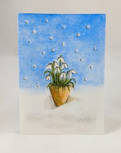 Snowdrops Card with backgrounds - full
