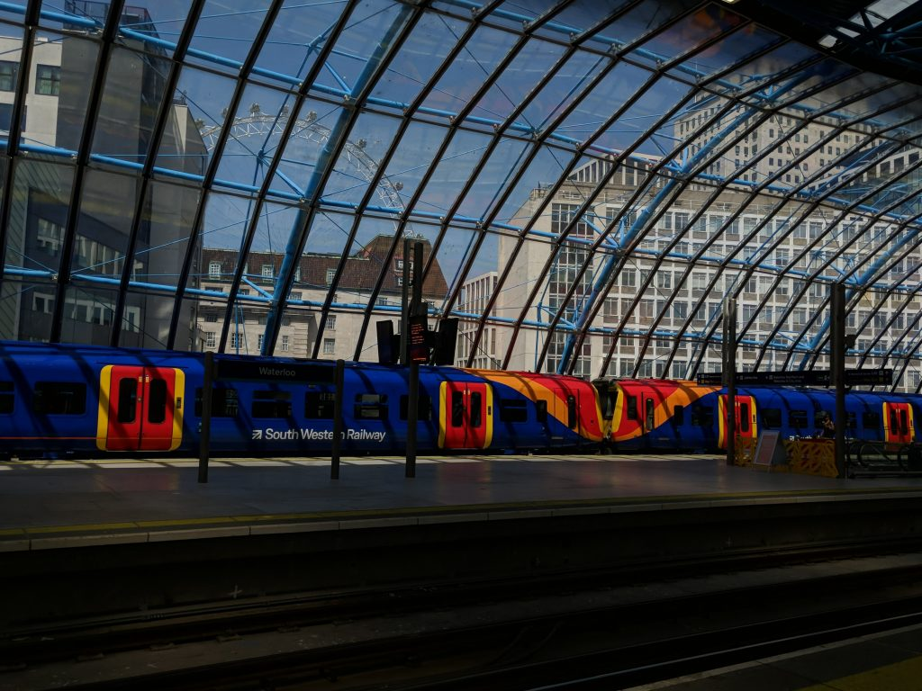 Train in Grimshaw's Waterloo Station